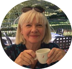 Jackie 2017 with a cuppa circle